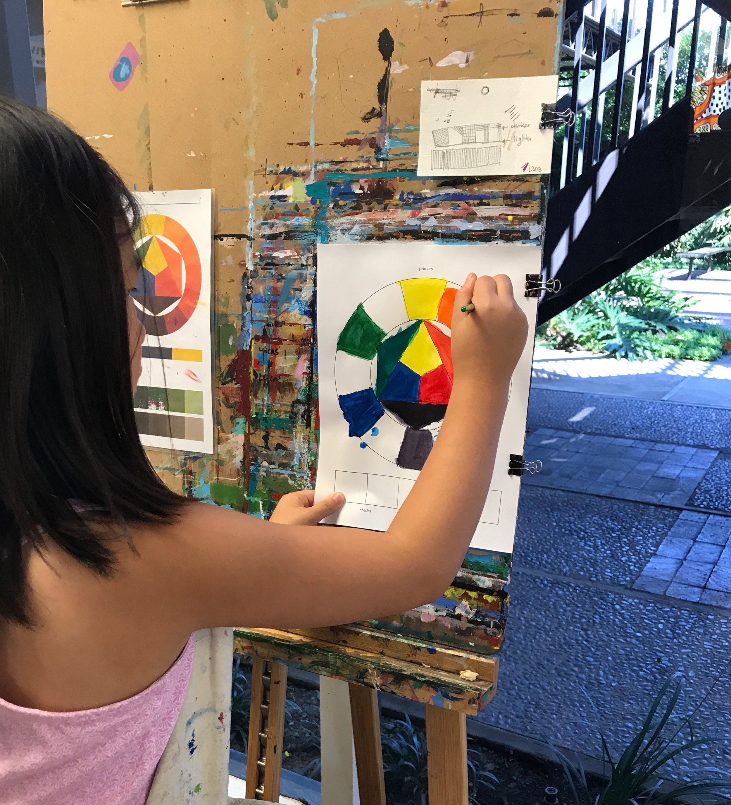 STUDY: COLOR (Color Wheel) - GOAL: Learn what primary colors are, how they can be mixed to make secondary and tertiary colors, and how black and white can be added to create tints, shades and tones.