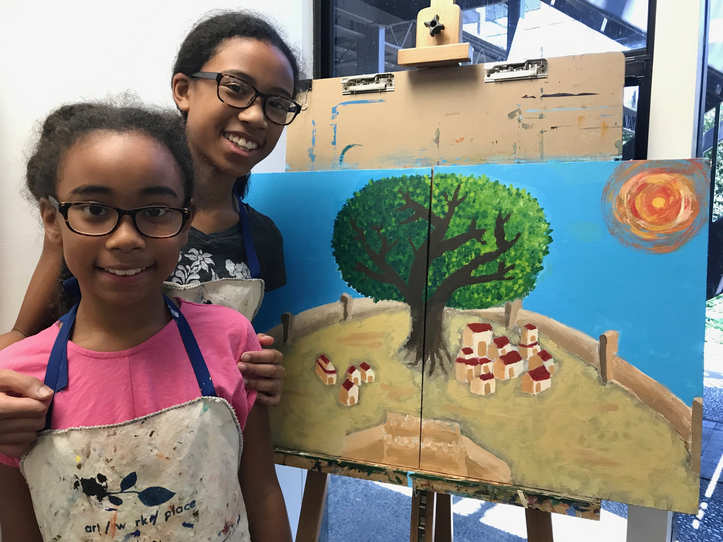 Mia & Naya Holden with final painting Visionary Cityscape SAI 2017.jpg