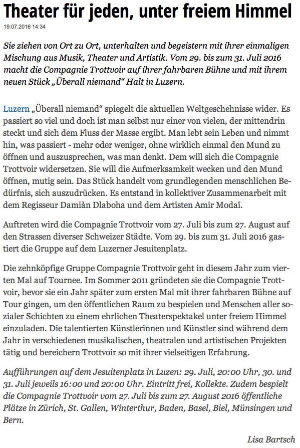 19. Juli 2016 - Anzeiger Luzern