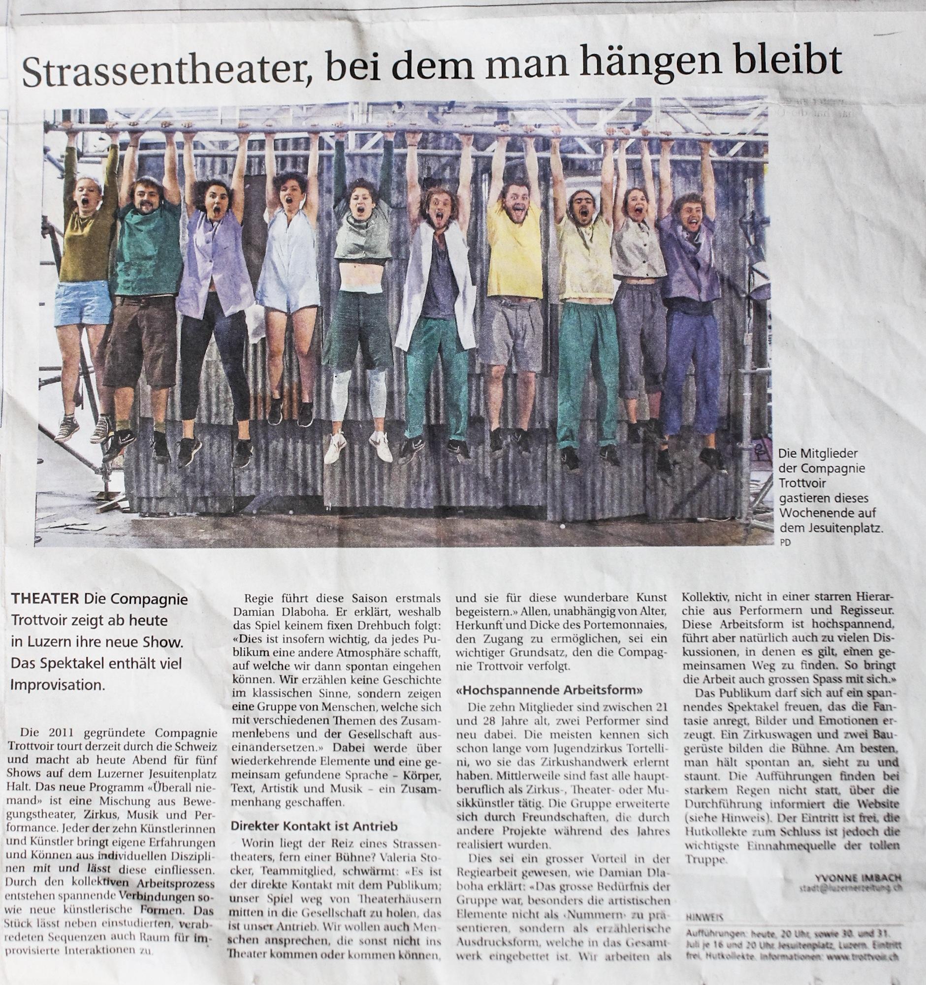 27. Juli 2016 -- Neue Luzerner Zeitung