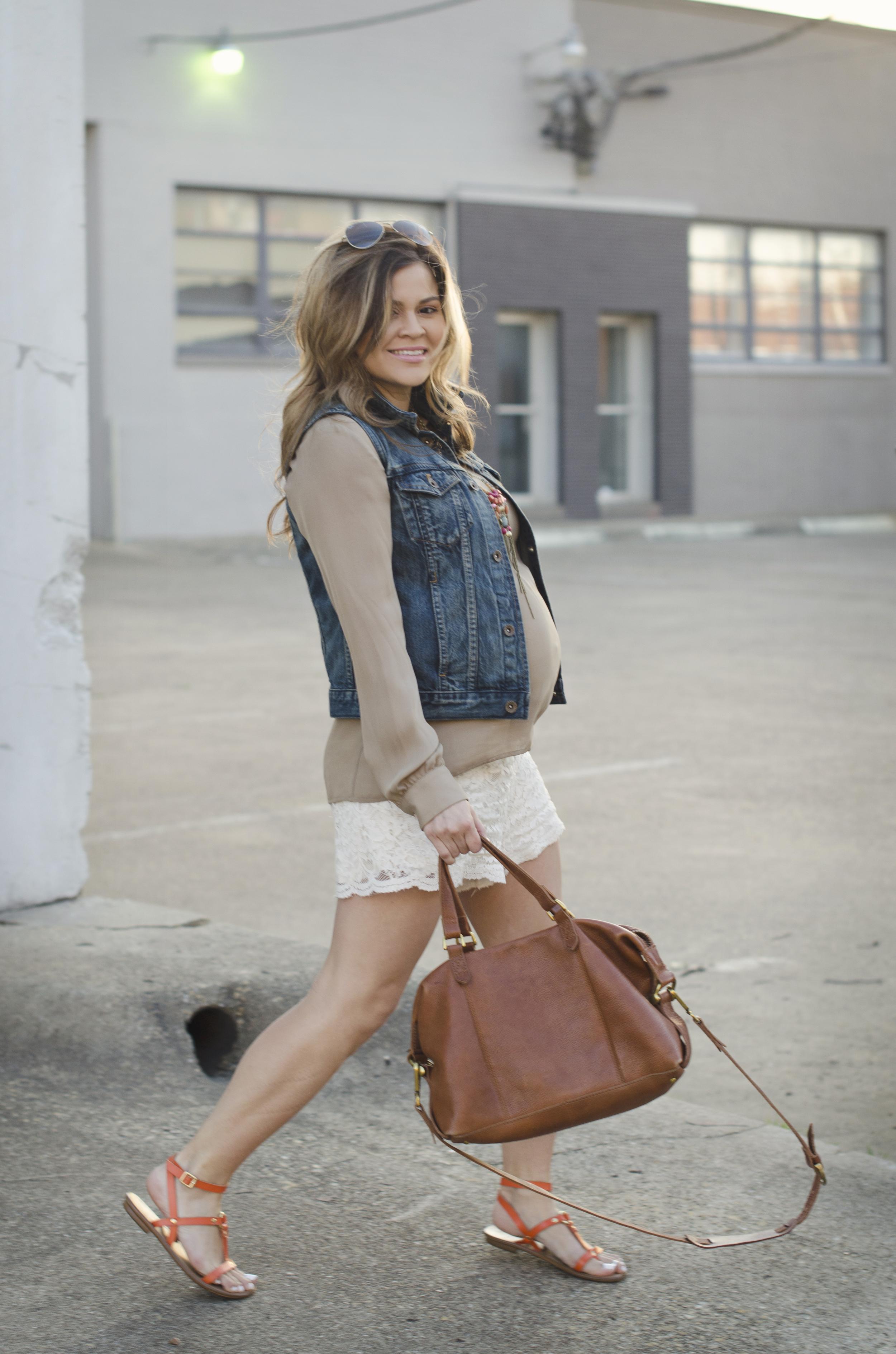 denim-vest-blouse-and-lace-shorts