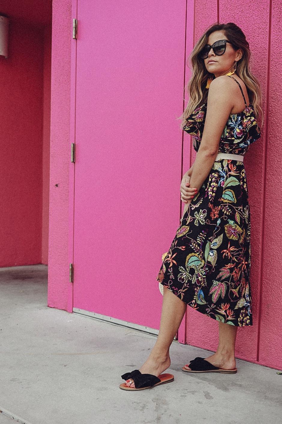 floral one shoulder dress h&m