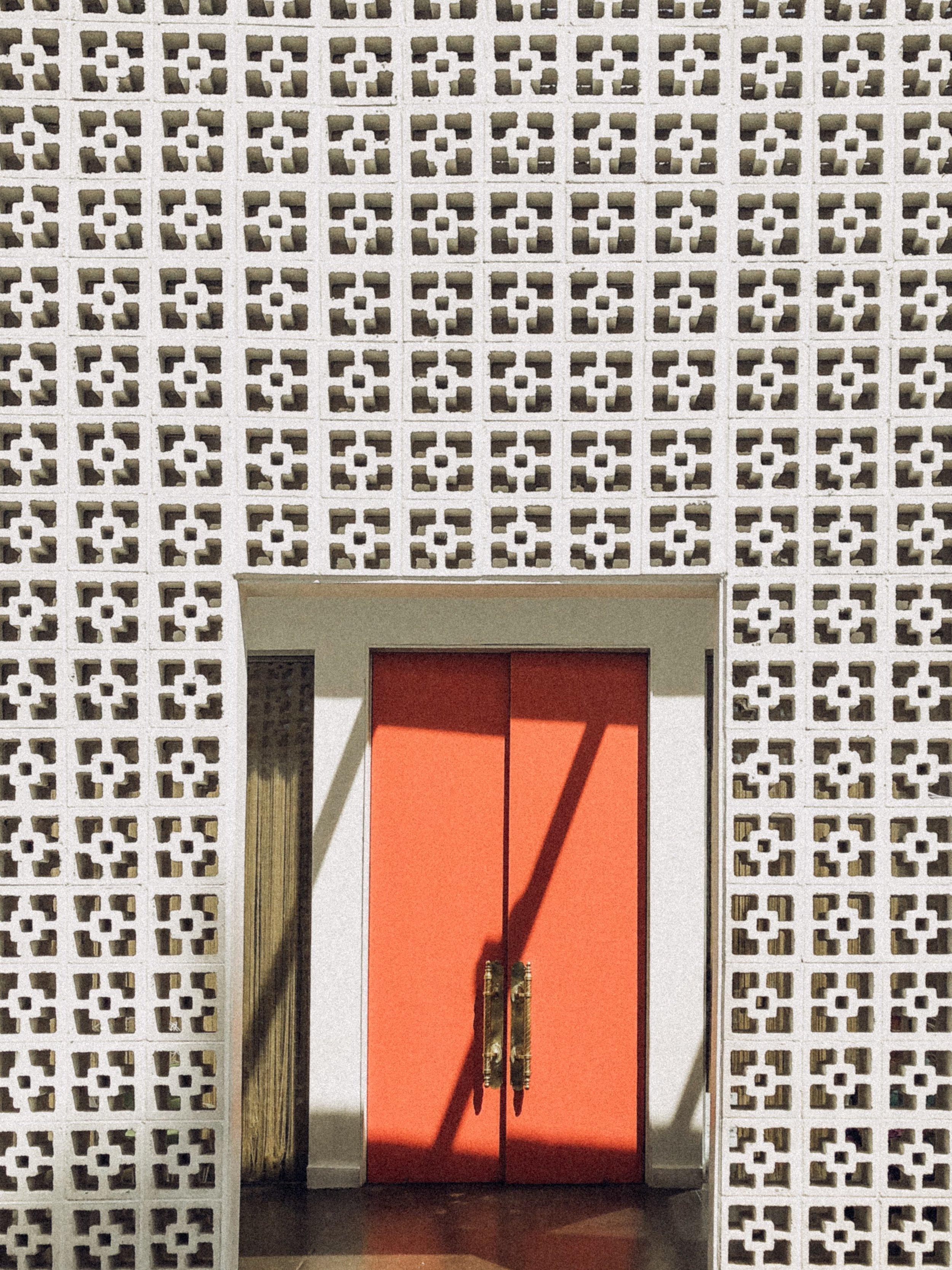 the parker hotel, palm springs, orange door