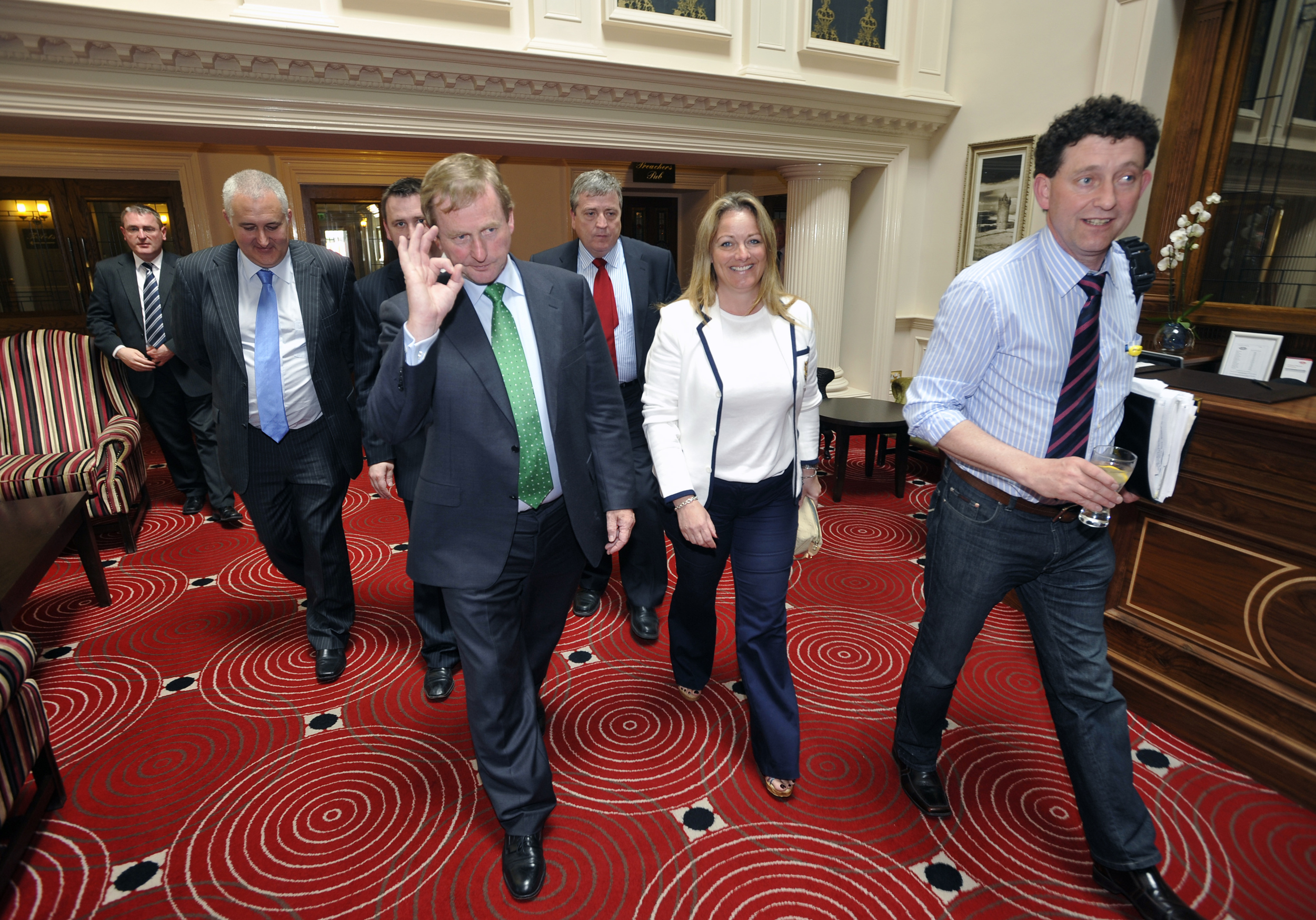 Fine Gael Enda Kenny with local election candidates Roger Fox, Mary Howard, Johnny Flynn as well as Td's Joe Carery and Pat Breen during his visit to Ennis.