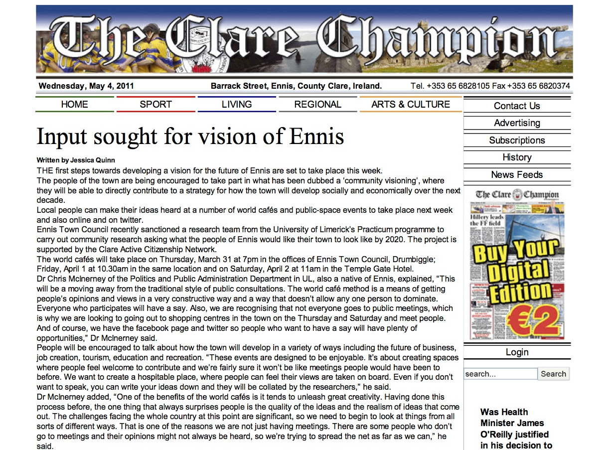 Input sought for vision of Ennis_ClareChampion_Mar2011A.jpg