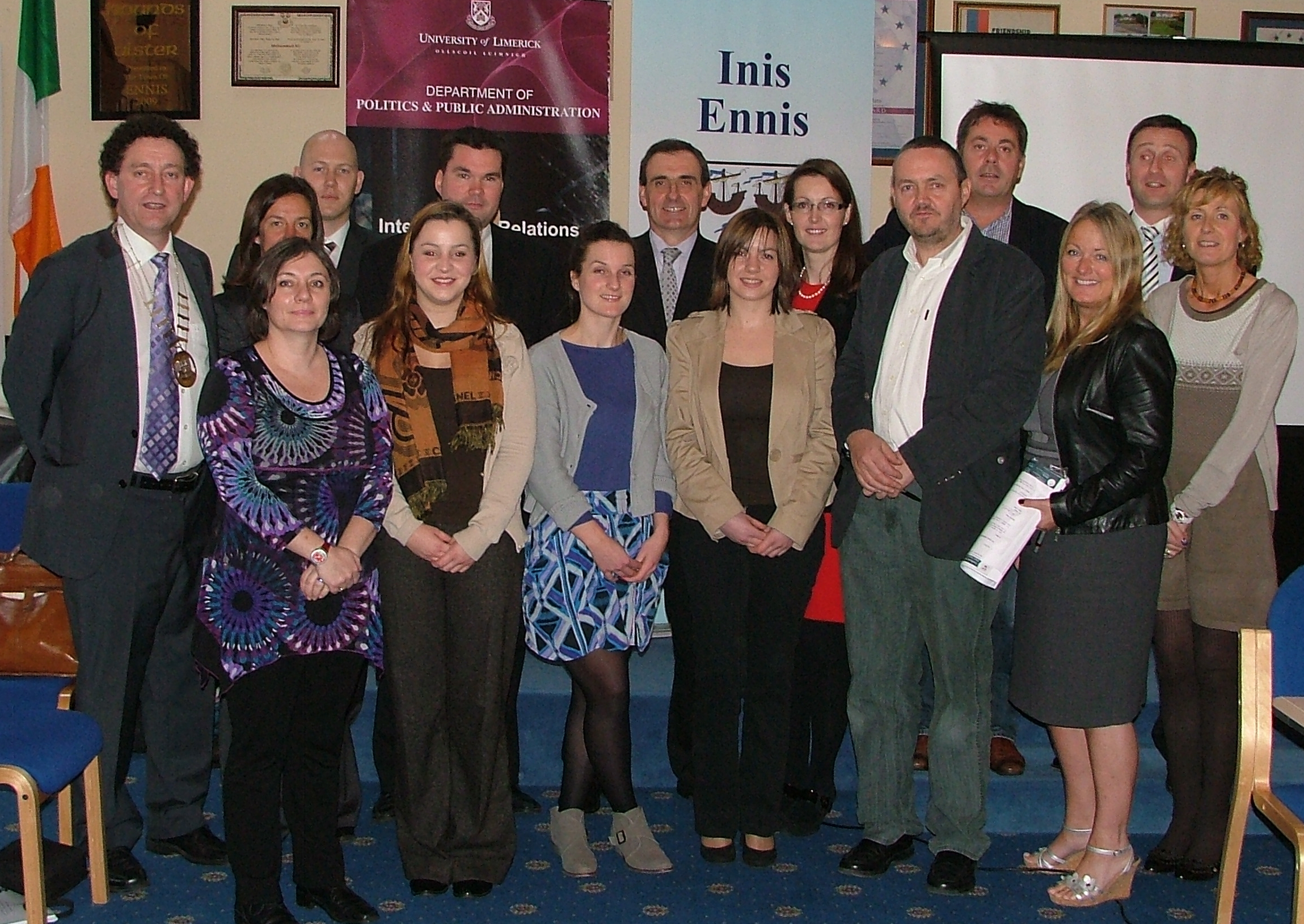 Town Officials with UL staff and students at Launch of Ennis 2020 online package_2 Visioning 1