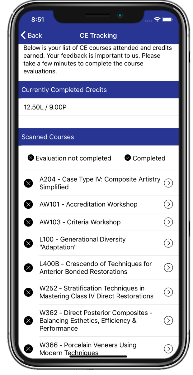 Courses appear on the attendee's mobile app as soon as the course is scanned.