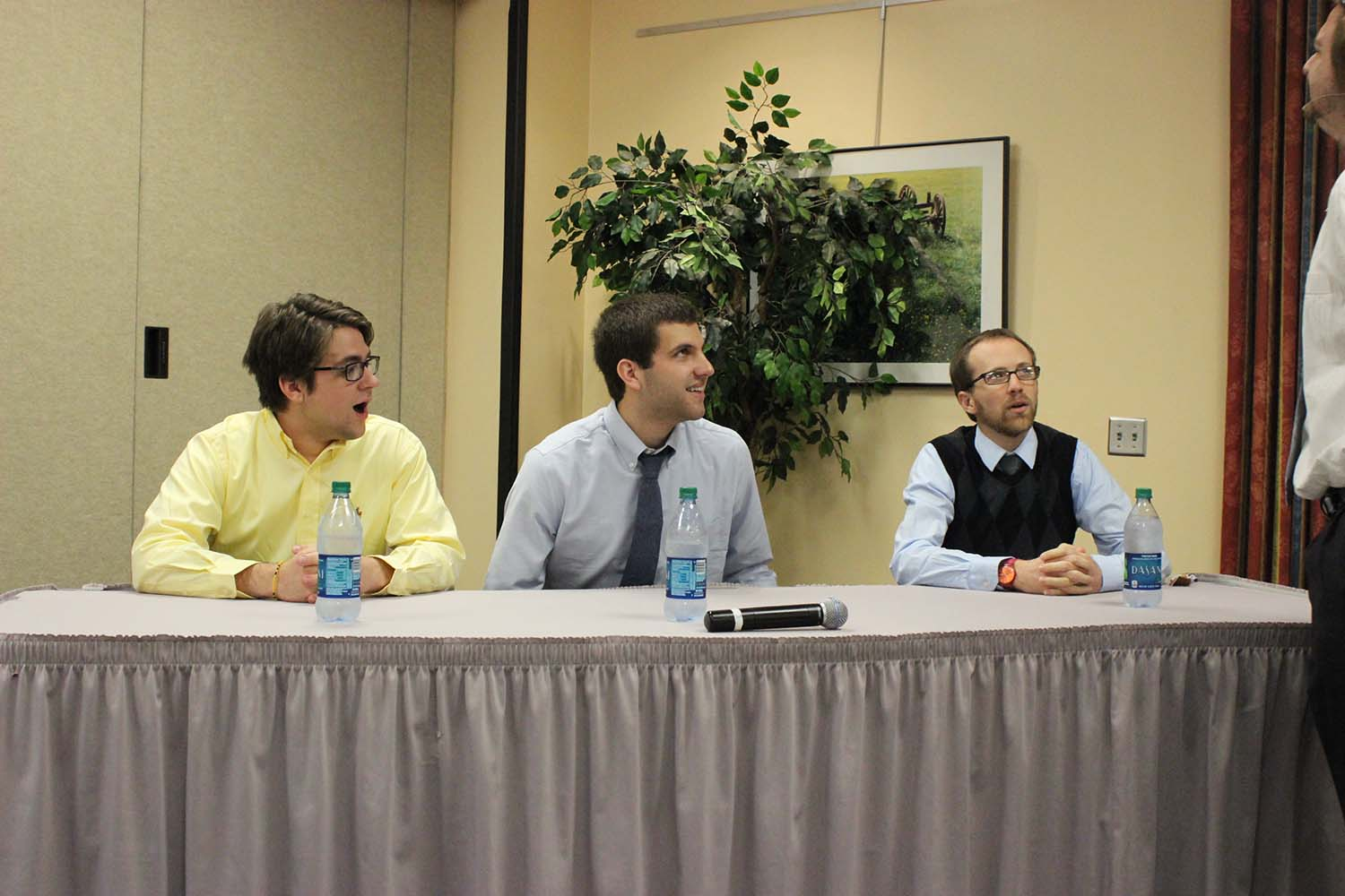 """Launch"" panelists from left to right: Ethan Byrd, Founder of the Baboomi alarm clock, which surpassed its crowdfuning goal on Kickstarter.com (also a computer science student at Georgia Tech); Dakota Burke, founder of Diamond Boards skim board company (and a graduate of the Berry College Entrepreneurship program); Ryan Simmons, President of Brand RED Studios, a Rome-based film studio (also using some really interesting applications of drones); and moderator Joel Wall, founder of OnBoxx."
