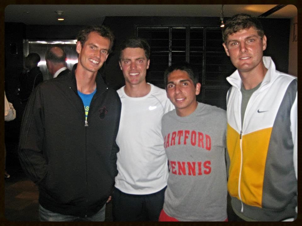 Edgardo Ureta in the Hartford Tennis shirt with ATP tour pro Andy Murray, and Foundation Alumni Trenton Alenik and Frideric Prandecki