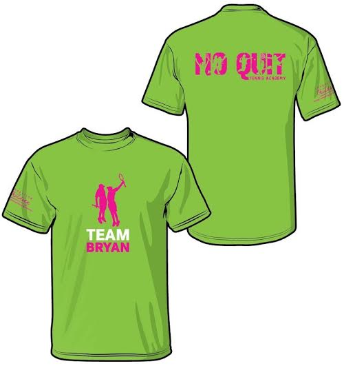 Team Bryan shirts are $20.00, and are available in green (as shown), blue, white, and pink. Please remember that participants that wish to take the annual photo with Bob and Mike Bryan must have a Team Bryan shirt on. Colors and sizes are based on availability.