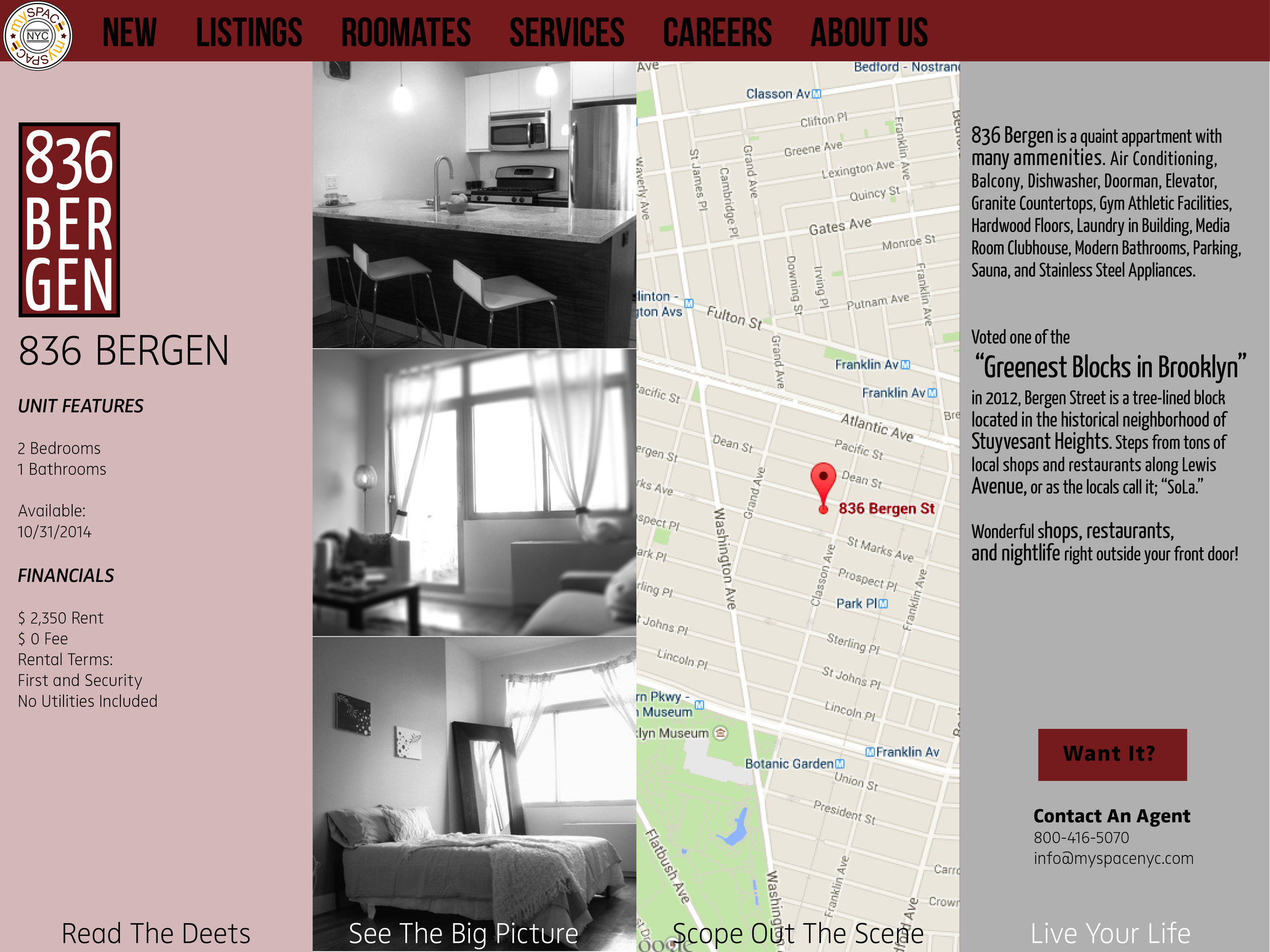 The Microsite for 836 Bergen, each property on the realtors website would have a page where an interested buyer would find information, price, pictures and location.