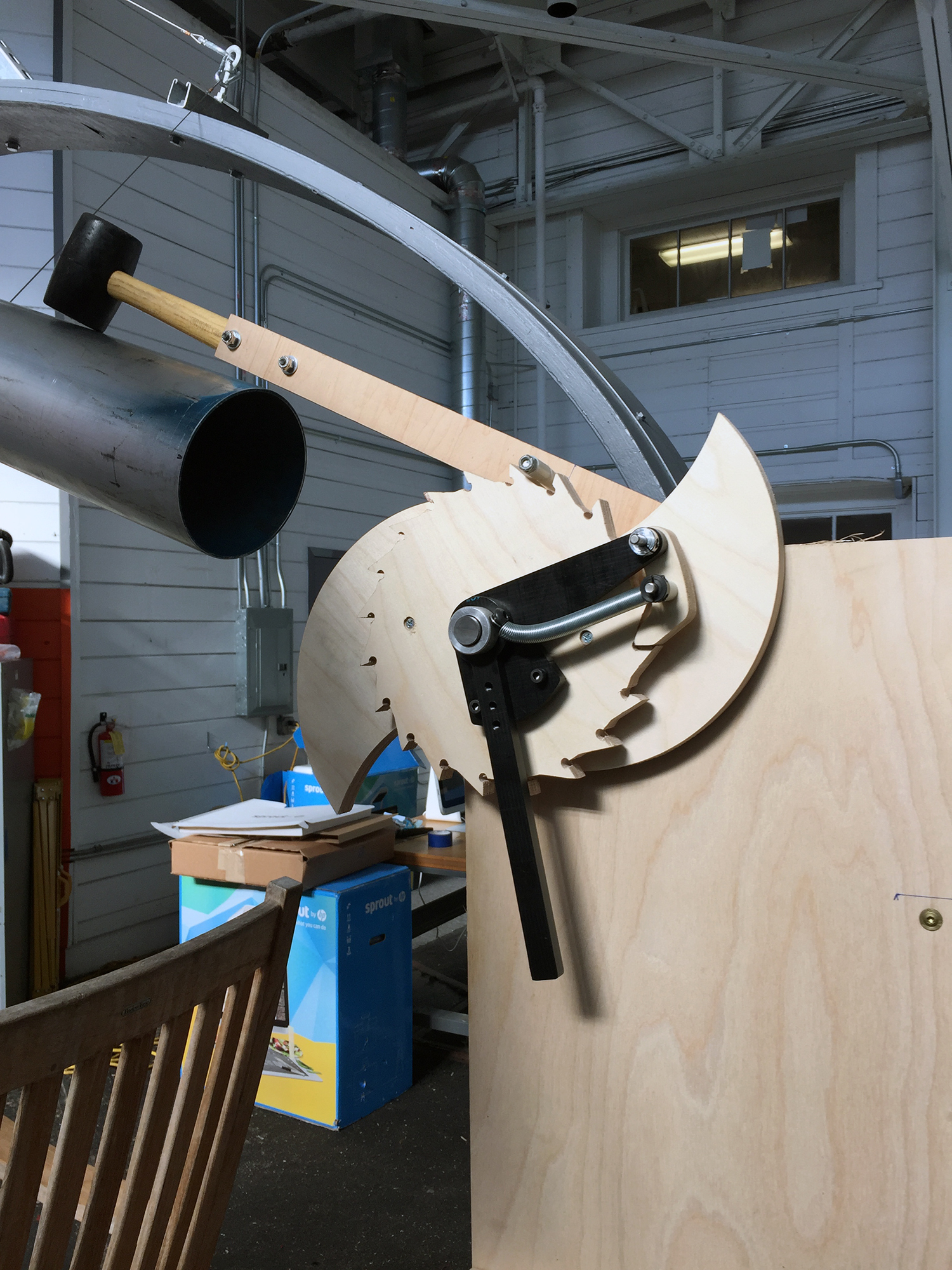 An early prototype of the striking mechanism, assembled by Adam Esposito
