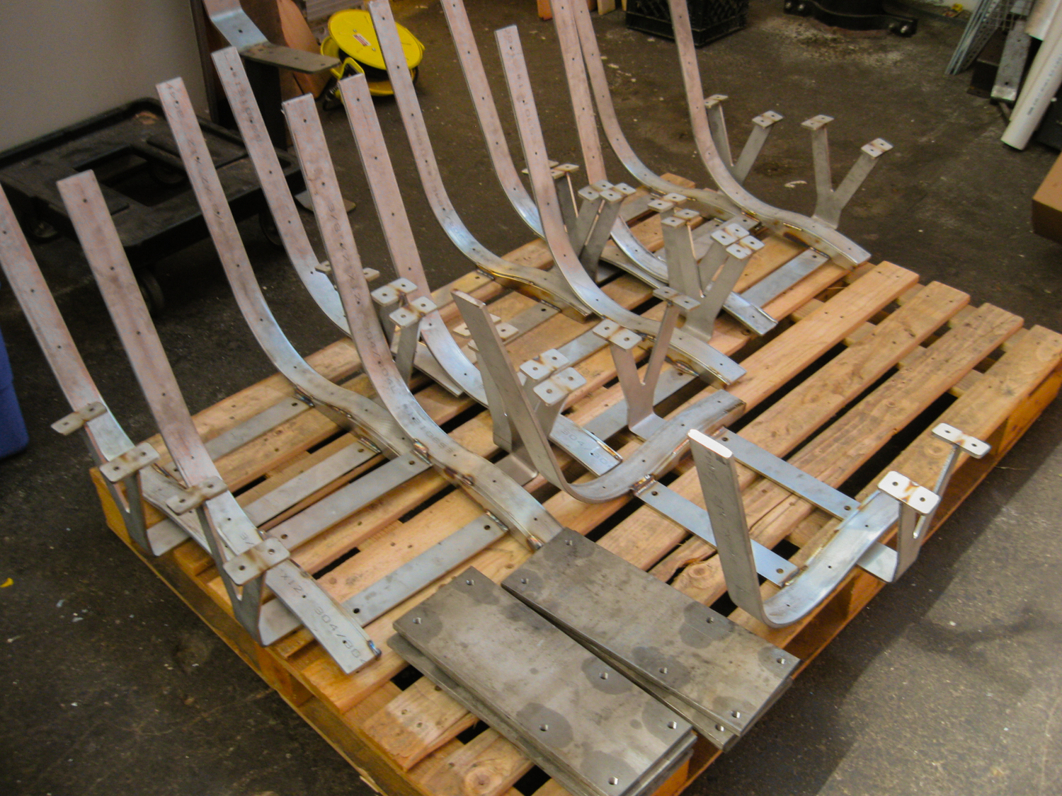 The frames of the stainless steel seats