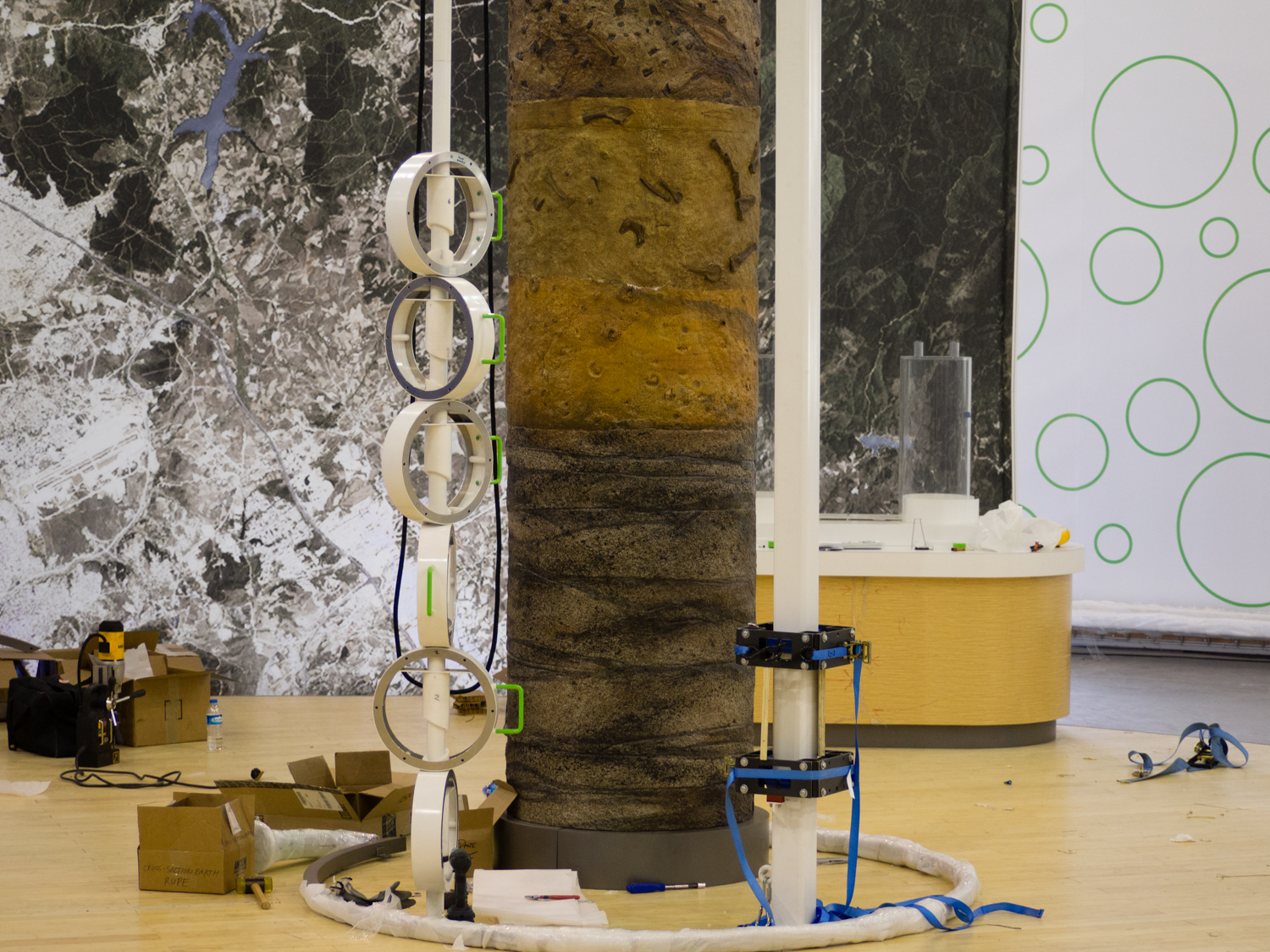 The soil column midway through final installation