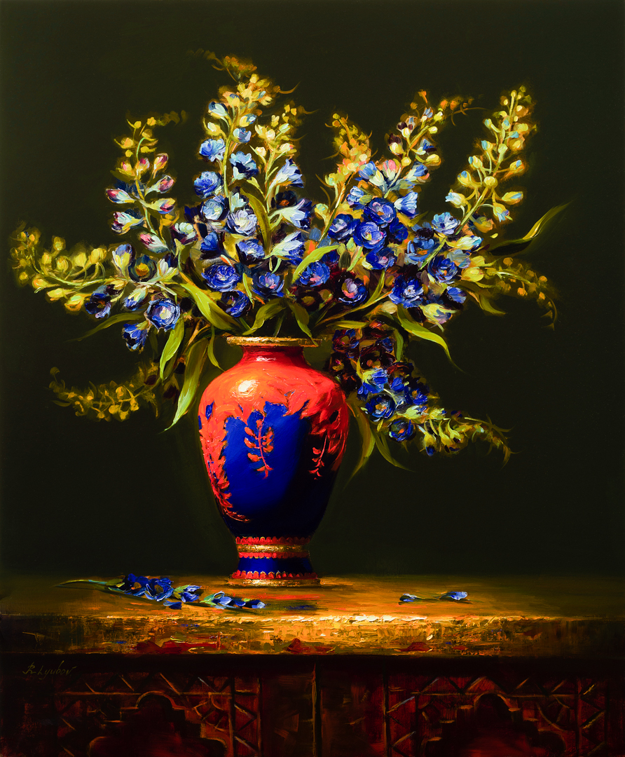 Chinese Vase with Blue Flowers 20x24 (Sold)