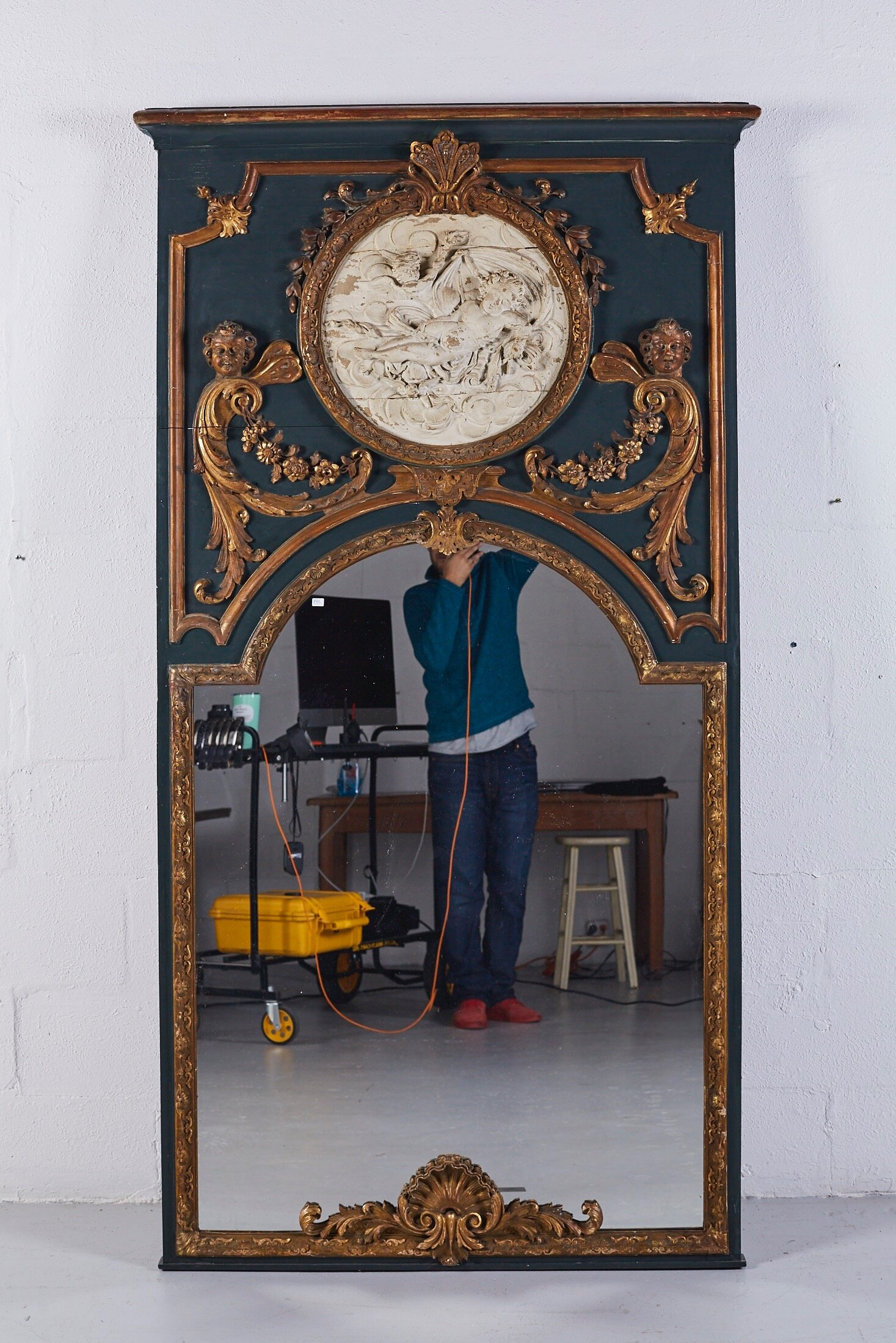 Photographing a large Venetian Mirror for an auction house. The mirror surface will be replaced in post.