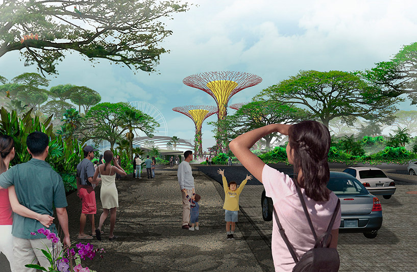 View from Arrival Square, Gardens By The Bay, Artist Impression