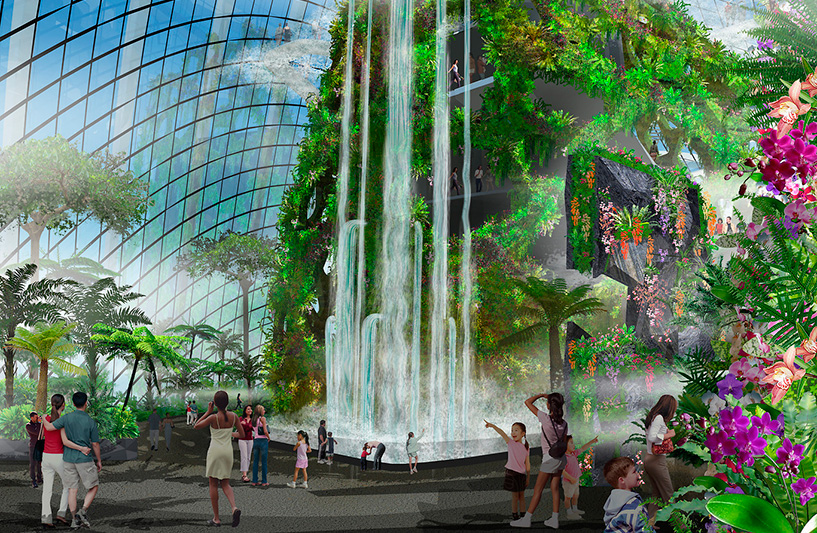 Cloud Forest Waterfall in Gardens By The Bay, Artist Impression