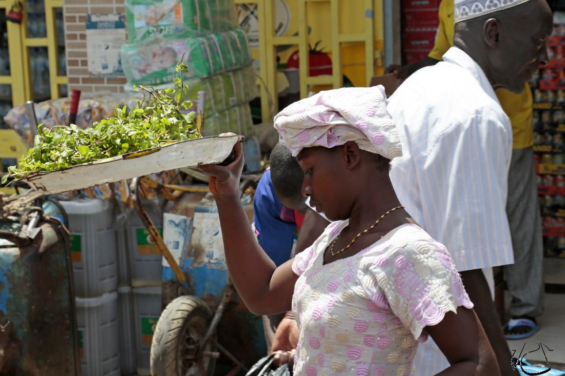 Les rues animés des banlieues de Banjul