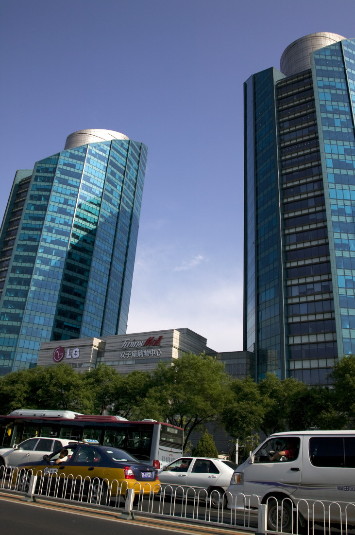 Blue towers: LG Twin Towers along Jianguomenwai Avenue, Chaoyang District
