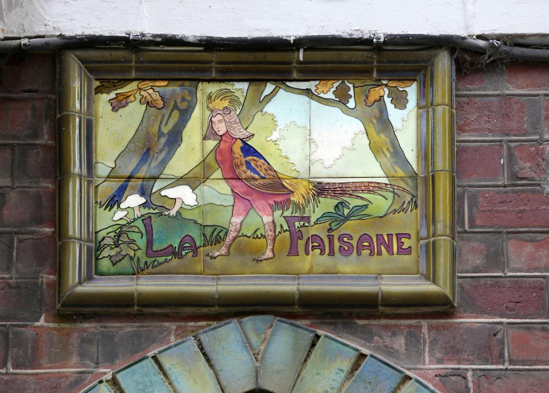Fronton en mosaiques Belle Epoque, quartier des Cordiers, Le Tréport