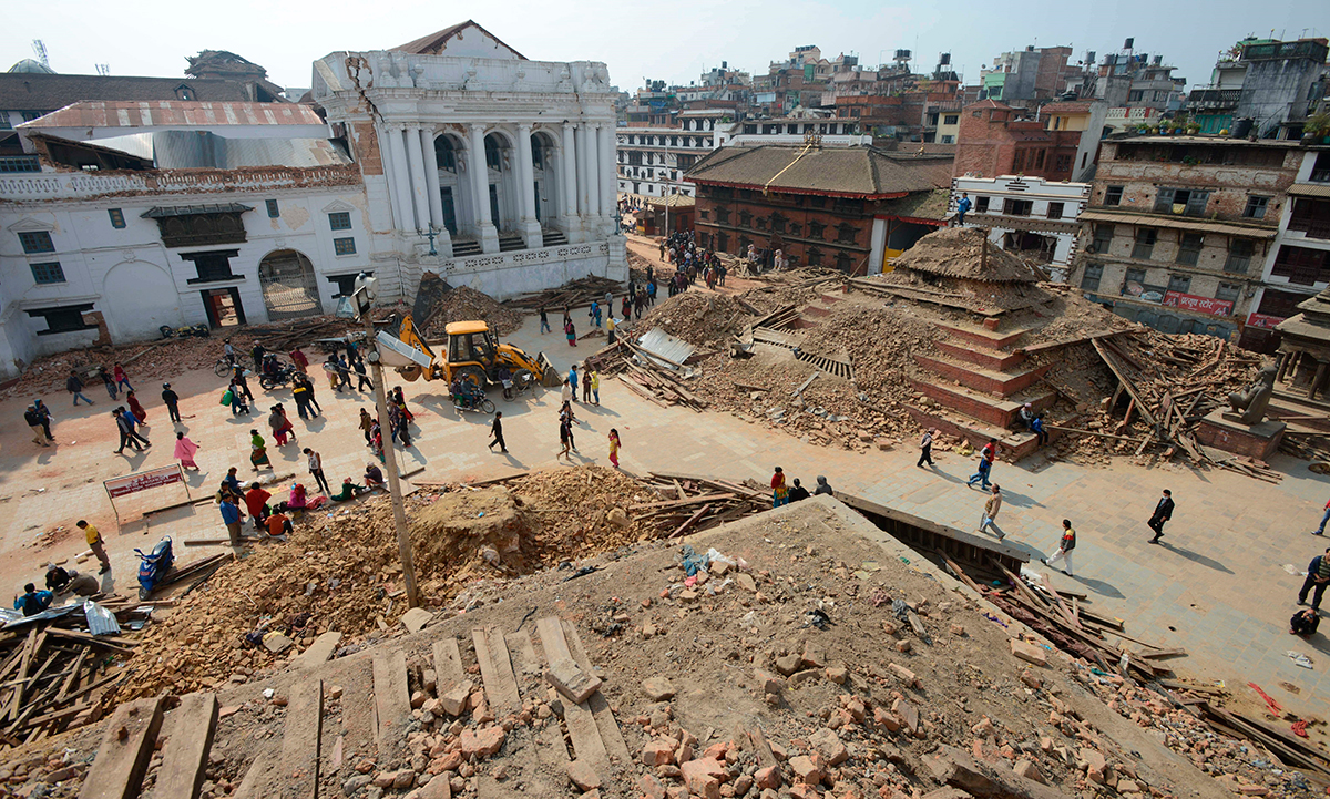 Durbar Square, juste après le seisme. ©DR (from the web))