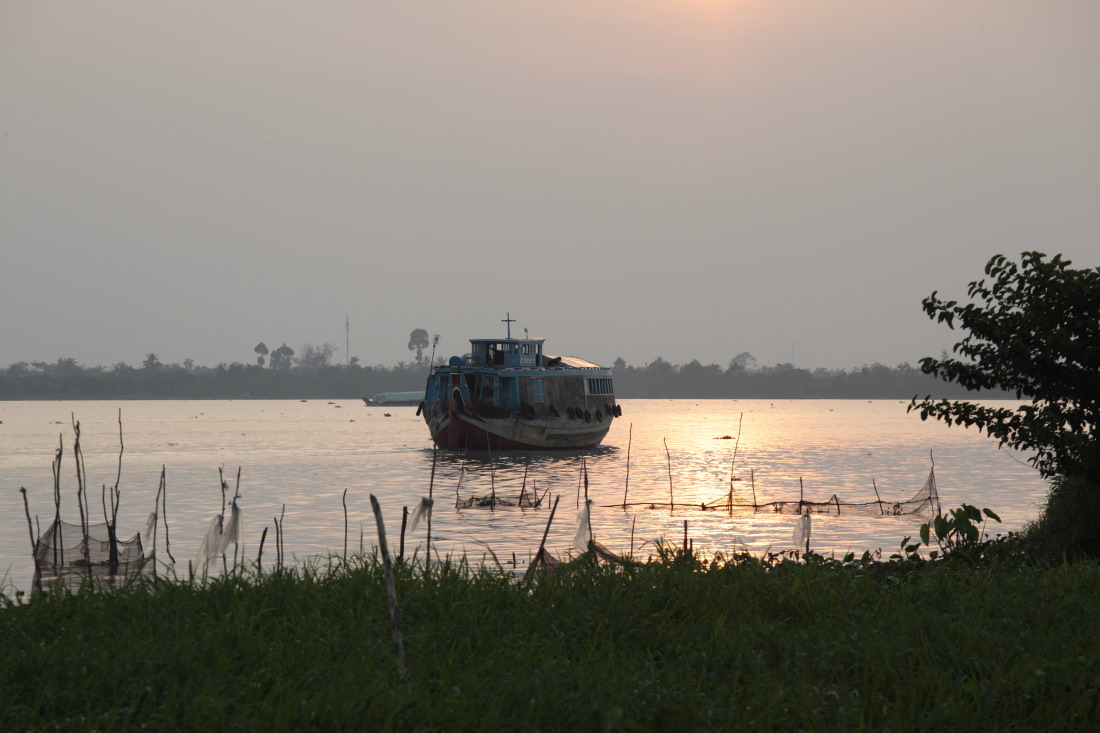 Vue de notre terrasse au Mekong Riverside Resort, Caibe
