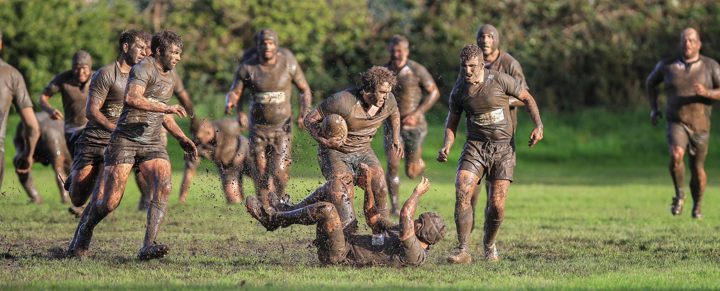 GRFC's Jason Batiste in a mud bath...