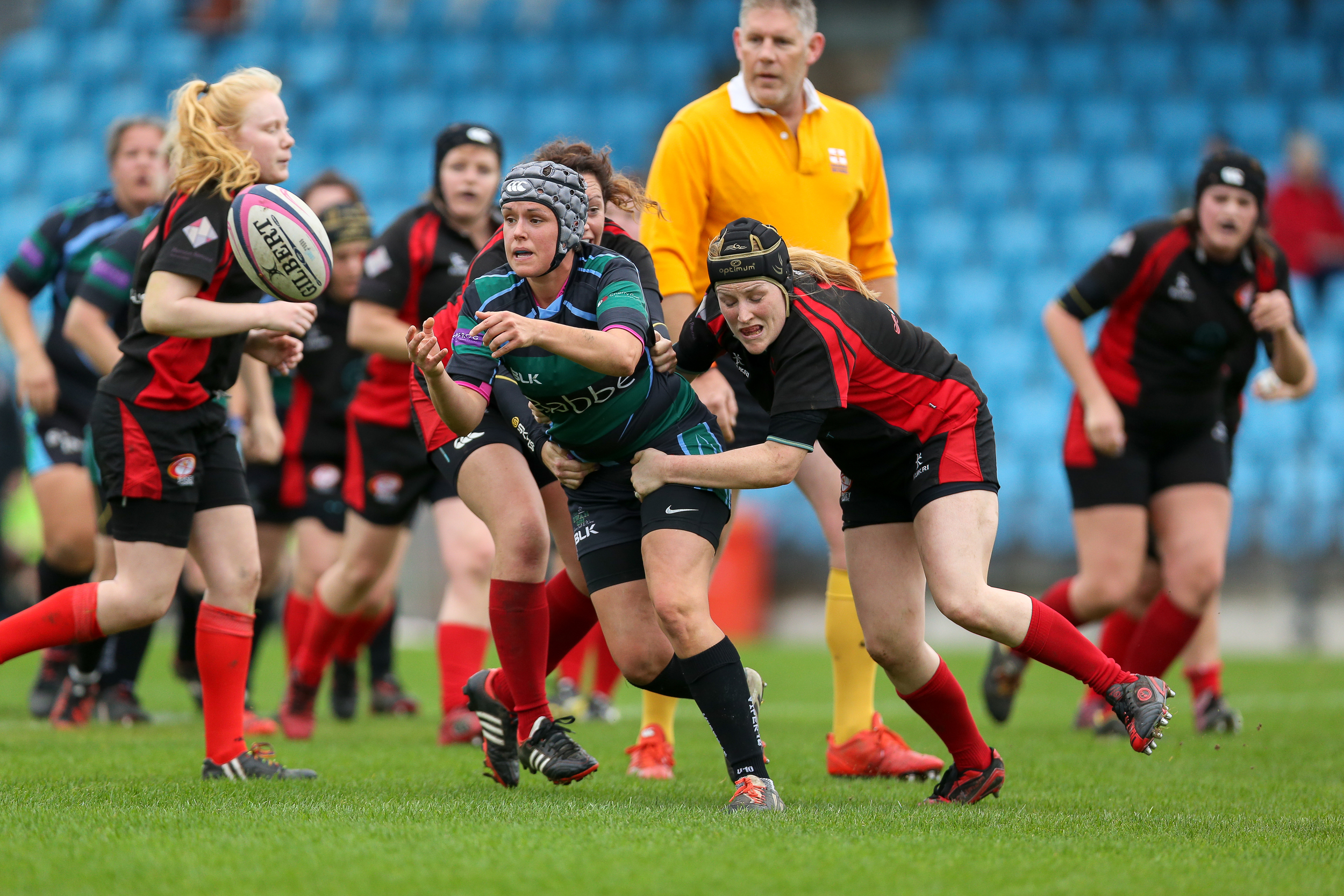 Guernsey Ladies Jemma Crouse feeds ball against Jersey.... Check out the Guernsey Ladies on their page...
