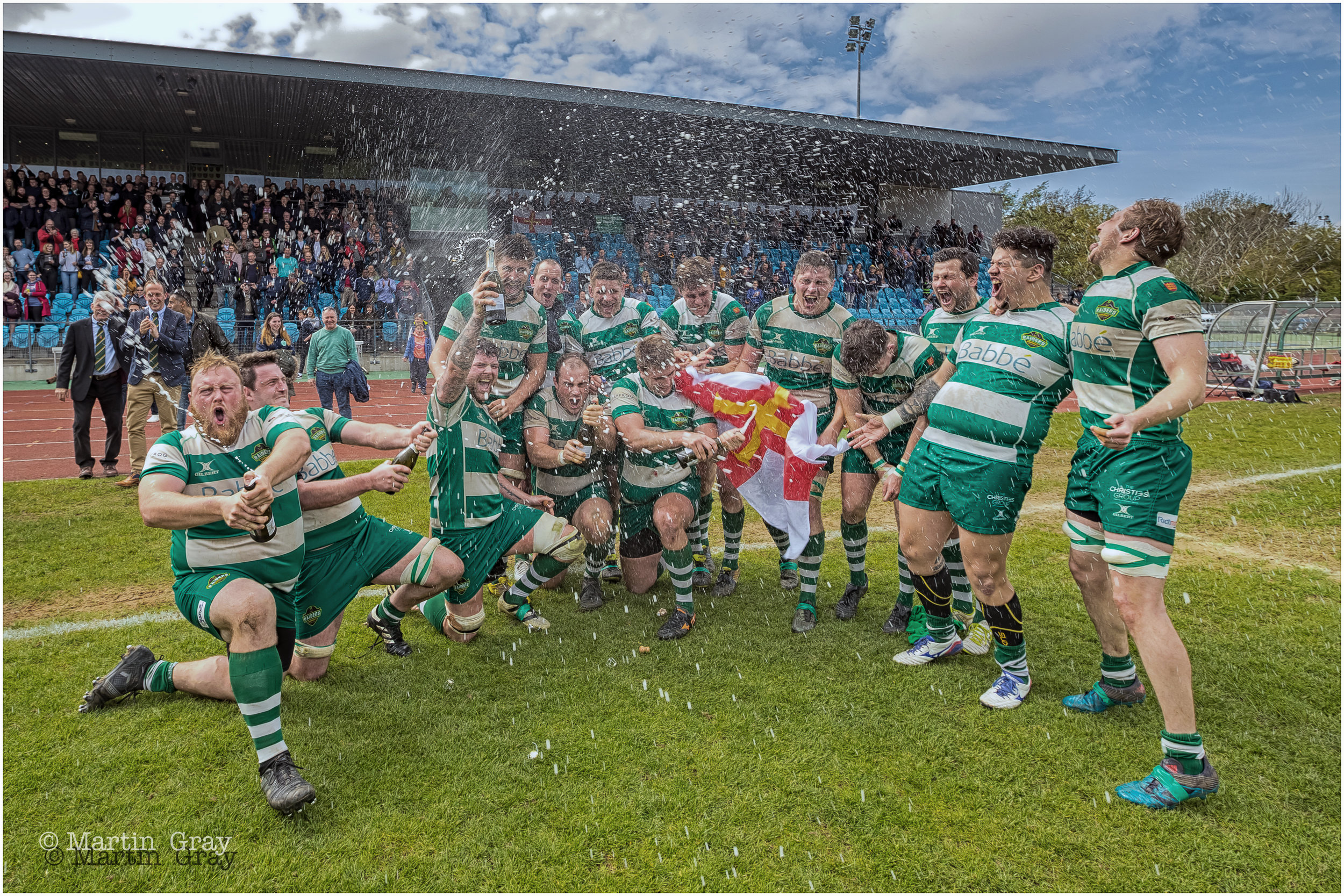 Guernsey Raider are promoted to National Two after winning 38-23 against Bournemouth RFC at Footes Lane... 28th April 2018