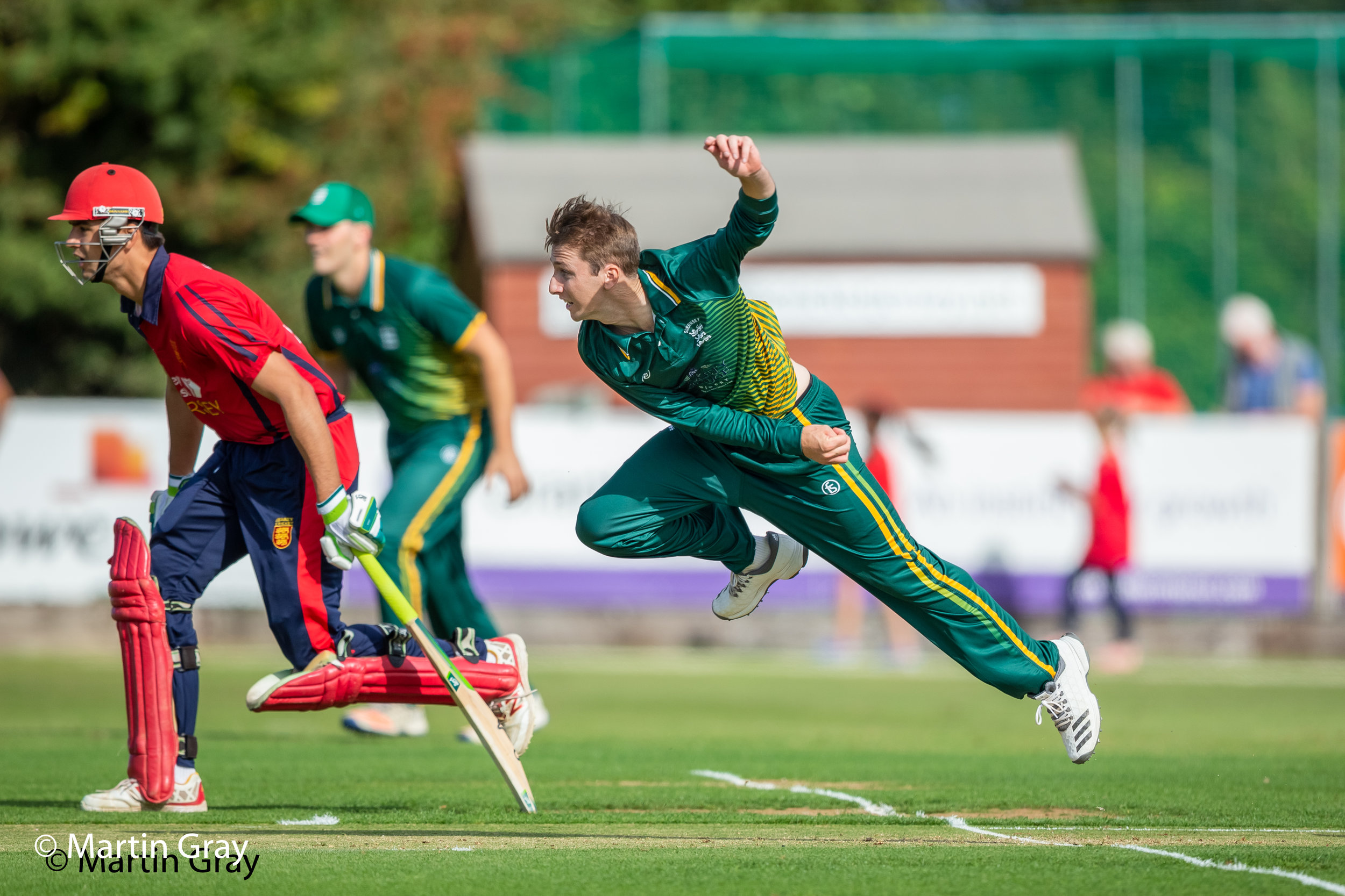 Guernsey's Matt Stokes in his follow through during the 2018 T20 Inter-Insulars at Farmers Field in Jersey....