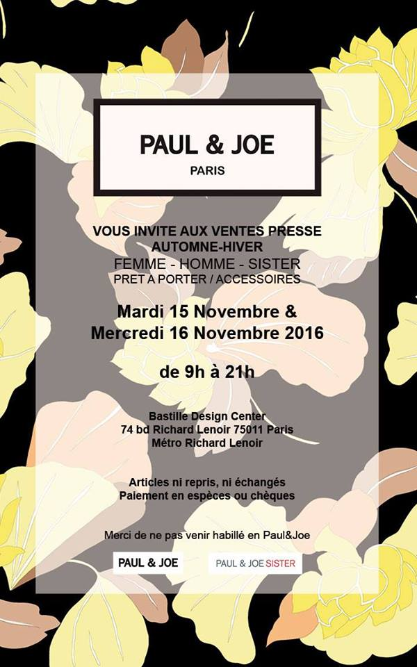 Vente presse Paul & Joe   Bastille Design Center  74 Boulevard Richard Lenoir  75011 Paris