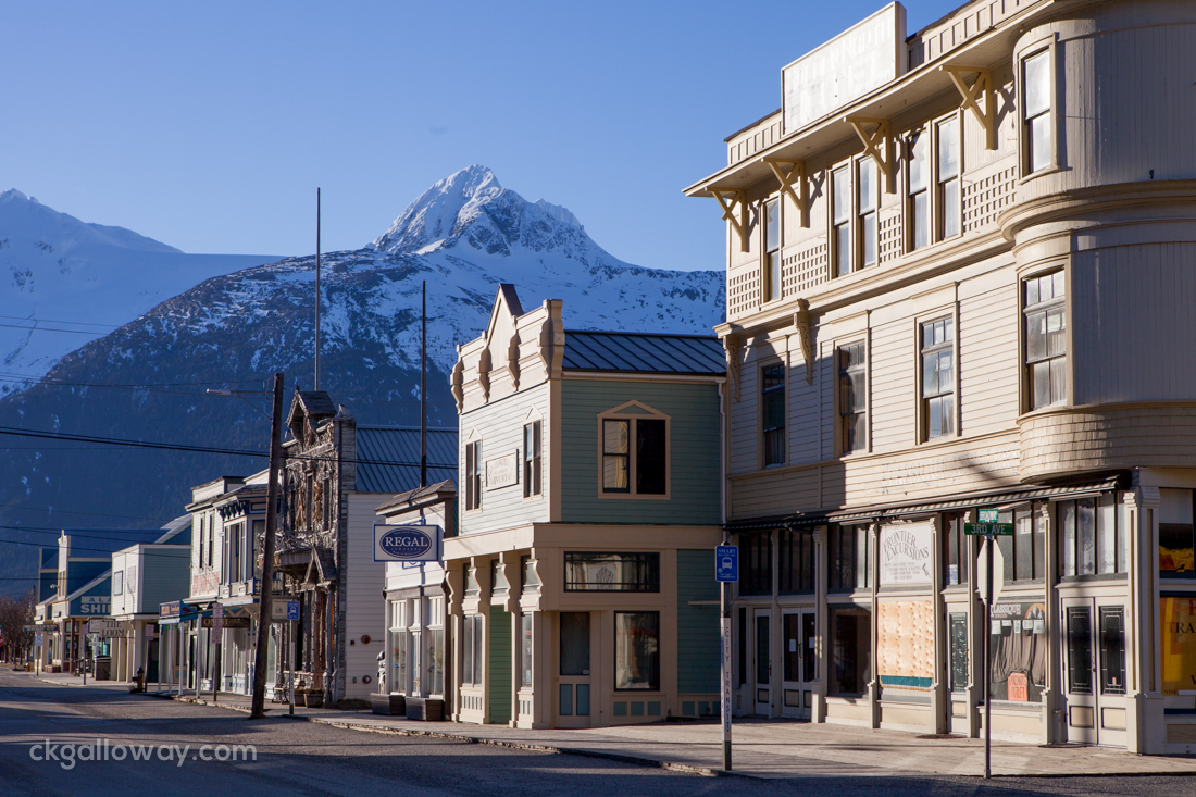 Downtown Skagway, on a beautiful February day. Photo by Christa Galloway.