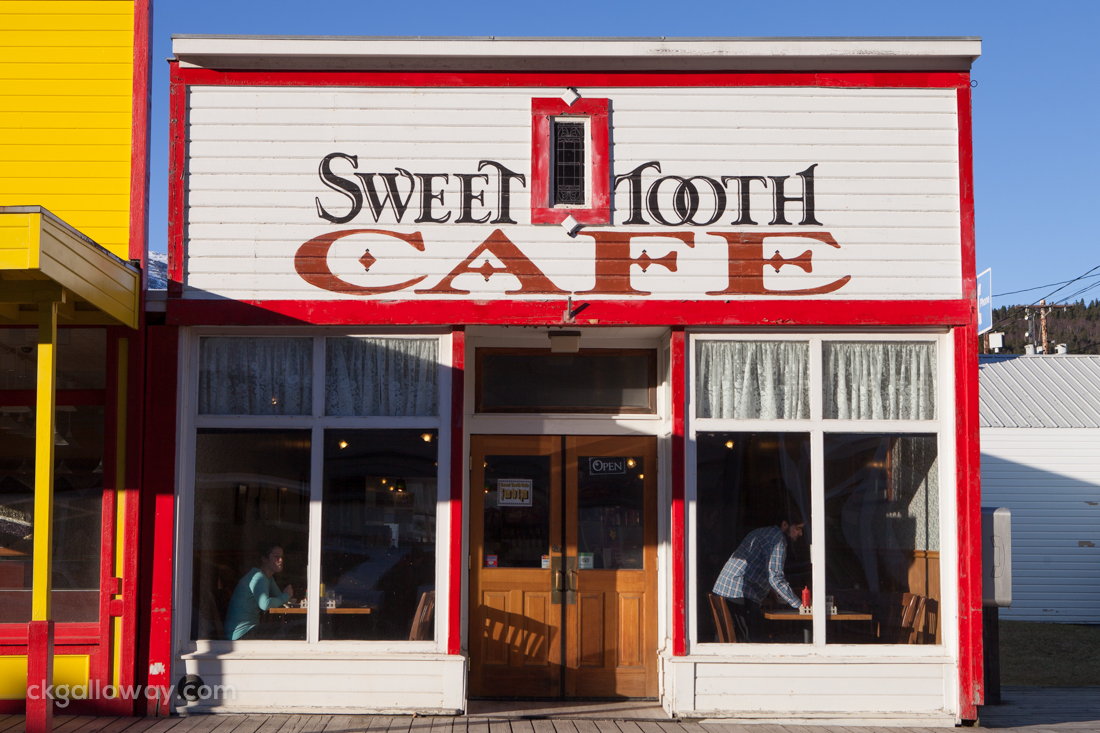 The Sweet Tooth Cafe, a familiar sight in the port of Skagway.