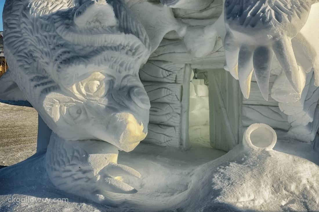 Team Alaska's winning entry to the Whitehorse International Snow Sculpture Challenge. Photo by Christa Galloway.