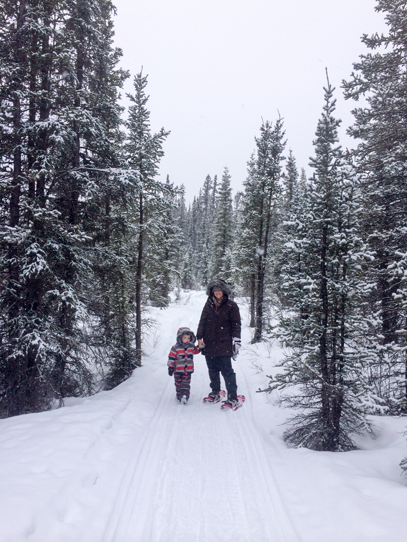 Snowshoeing with Oscar. Photo by Richard Galloway.