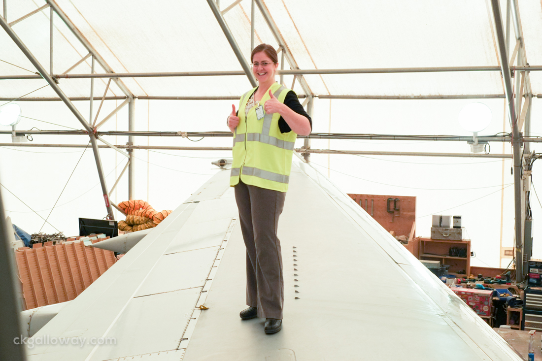 This is me, Christa, on the wing of an Air North B737 during my window exit drills. Photo by Susan Gregory Allen.