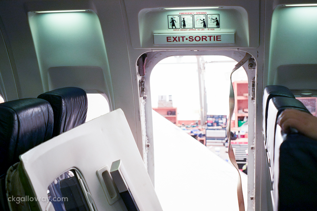 Today, we removed the window exit on a B737. Photo by Christa Galloway.