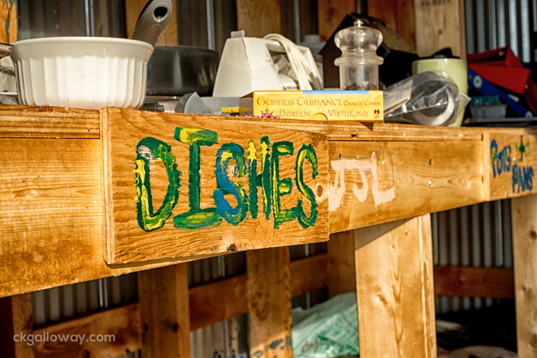 """The """"Dishes"""" and """"Pots and Pans"""" sections of the Mile Nine Dump Free Store."""