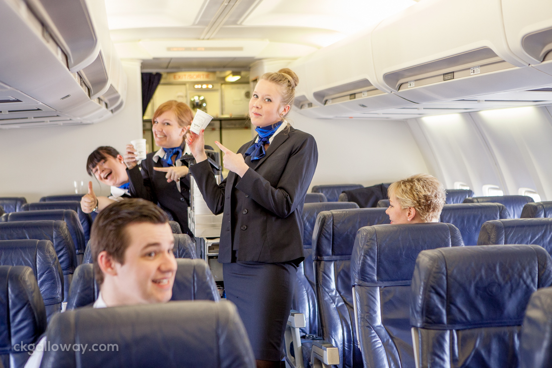 Seasoned service professionals, showing how it's done, during Air North flight attendant service training. Photo by Christa Galloway.