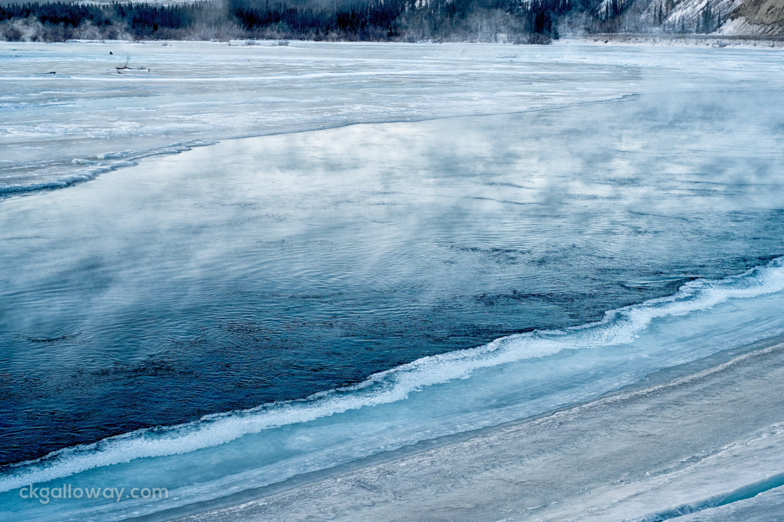 The icy bank of the Yukon River in Whitehorse. Photo by Christa Galloway.
