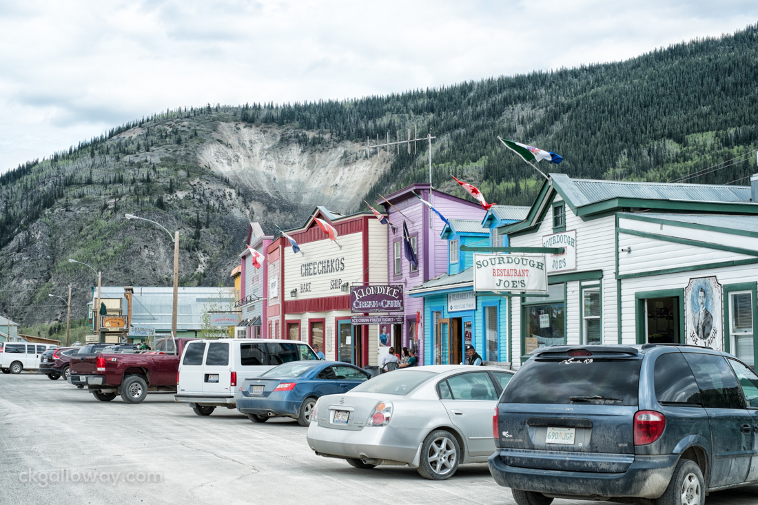 Some western-style shops in Dawson City. Photo by Christa Galloway.