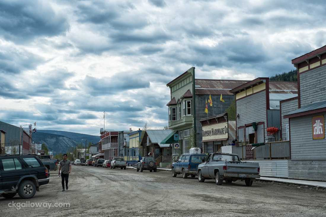 A main dirt road in Dawson City. Photo by Christa Galloway.