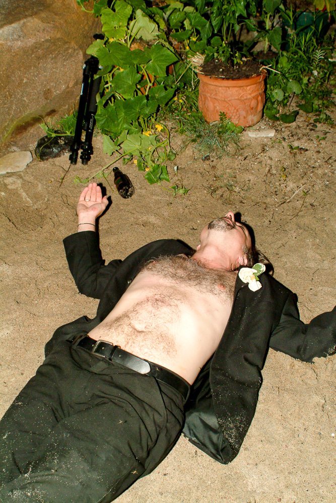 You know it was a good time when the best man is passed out on the beach in his suit but inexplicably without a shirt. (Sorry Shaun, had to post this. Consider it payback for the wedding certificate incident.) Photo by Simon Furlong. (Kudos to Simon for taking an in-focus photo at this time of the evening.)