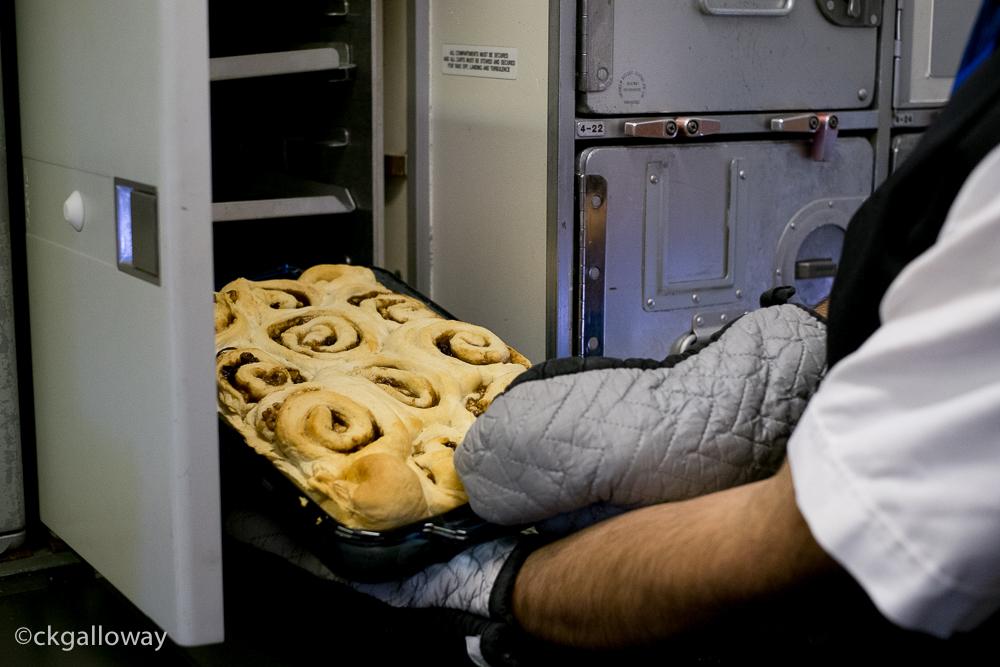 Baking at 37,000 feet.  Photo by Christa Galloway.