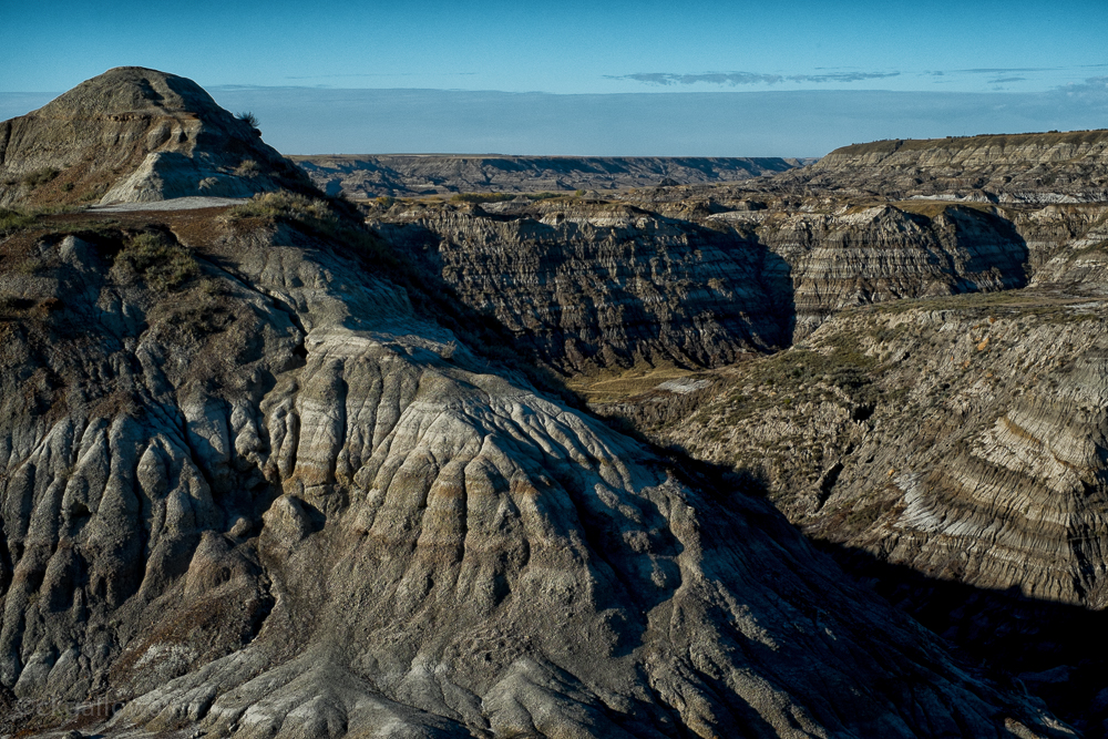 Horsethief Canyon near Drumheller, Alberta. To the left is the hill we climbed.  Photo by Christa Galloway.