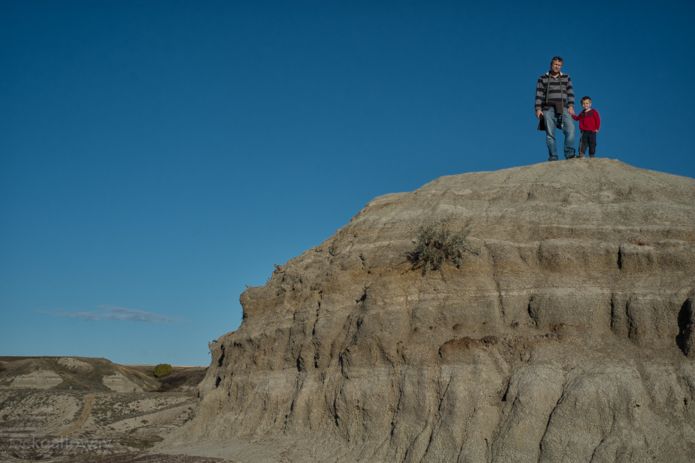 Richard and Oscar on a hill in Horsethief Canyon, Alberta.  Photo by Christa Galloway.
