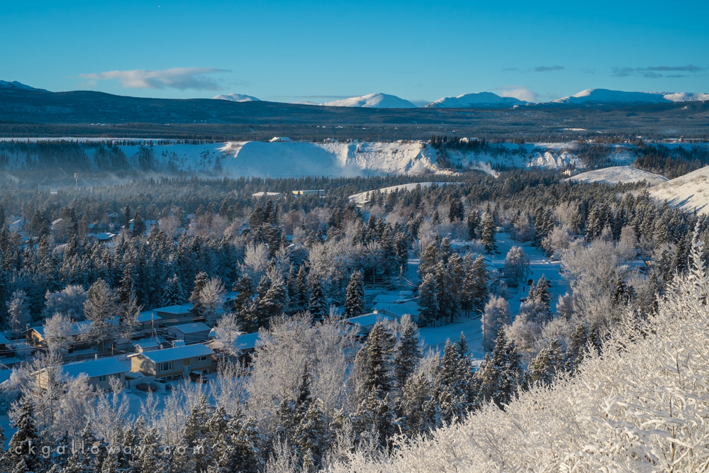 A view of Riverdale, Whitehorse, Yukon from Grey Mountain Road. December 2014.  Photo by Christa Galloway.
