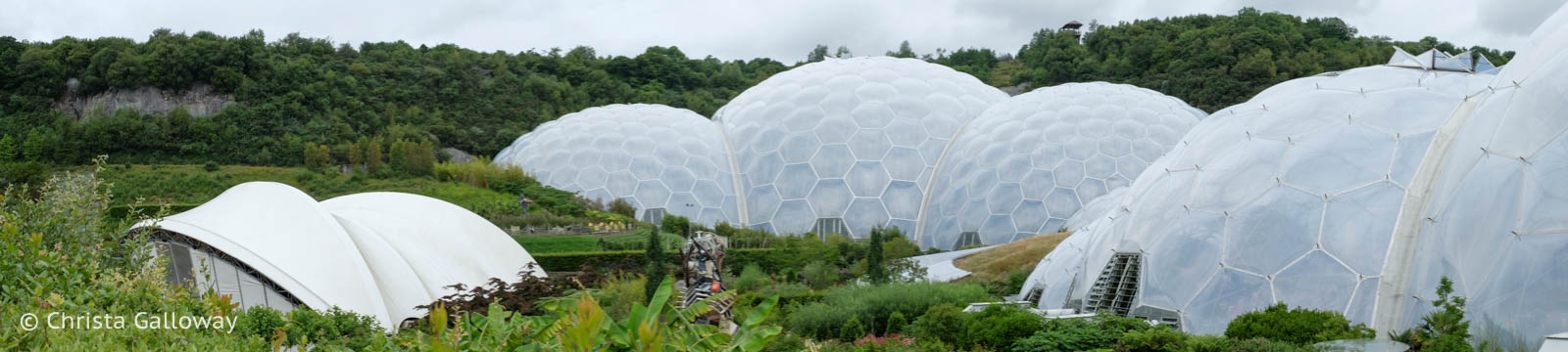 The stage, the rainforest biome and the Mediterranean biome at the Eden Project in Cornwall. Photo by Christa Galloway.