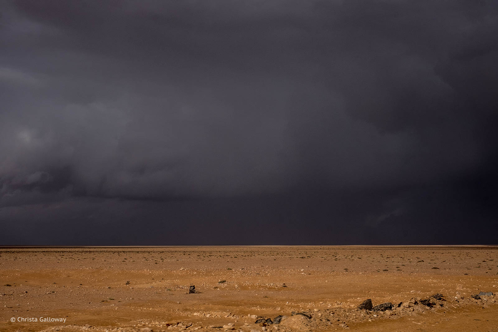 A desert rainstorm north of Siwa.